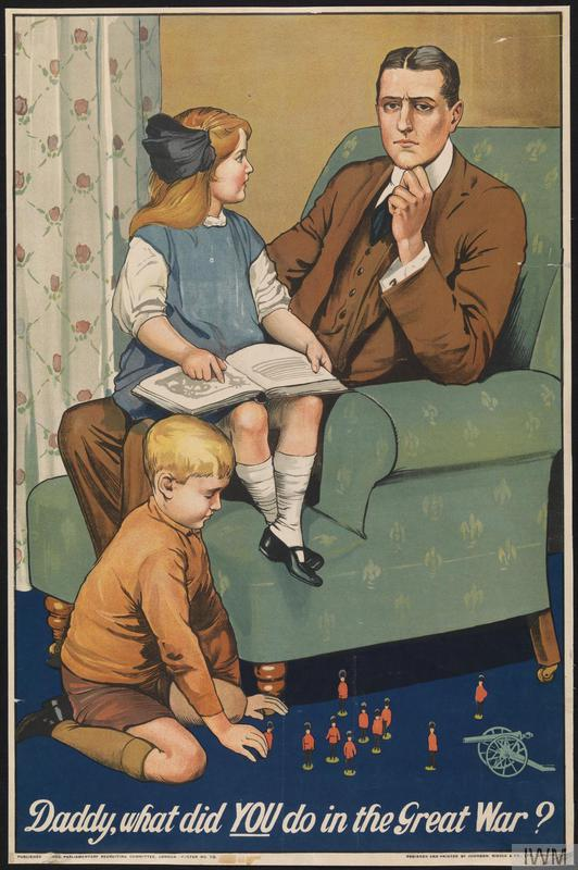 WWI recruitment poster, with a father being asked what he did in the war